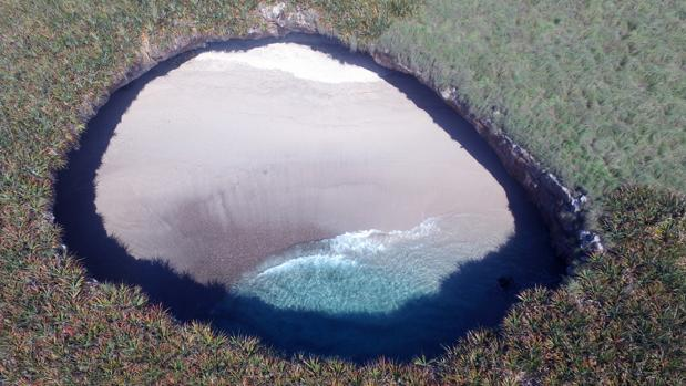 Vista aérea de Playa Escondida, en el Pacífico mexicano