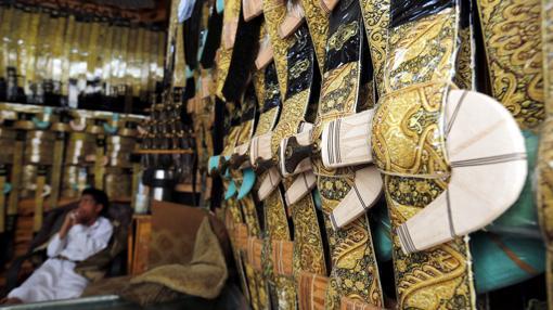 En el mercado de Jambiya pueden adquirirse todo tipo de armas artesanales
