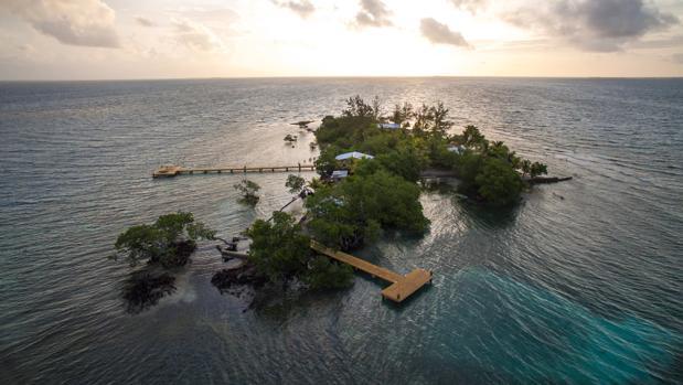 Vista aérea de Coral Caye