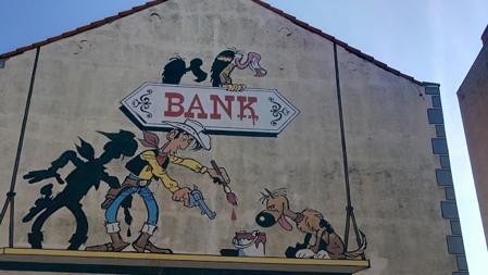 Detalle de una de las paredes de la ruta, dedicada a Lucky Luke