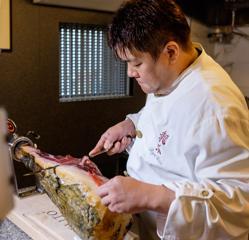 Jamón de cerdo ibérico en el restaurante de Yamamoto