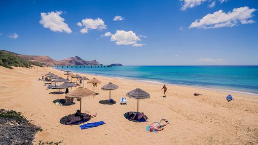 Playa de la isla de Porto Santo, de nueve kilómetros de largo