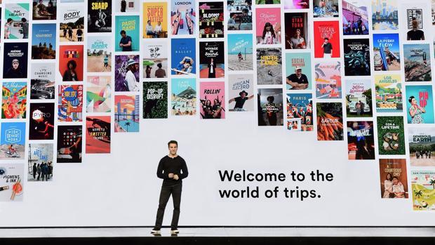 Brian Chesky, primer ejecutivo de Airbnb, en la presentación de Trips