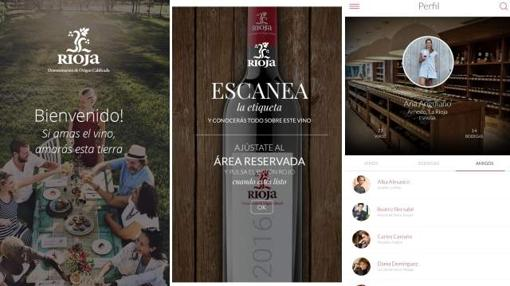 Distintas pantallas de la app Riojawine