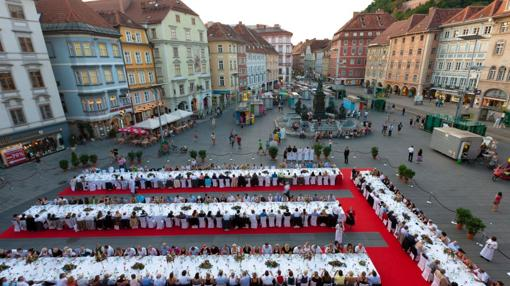 Fiesta gastronómica en el centro de Graz