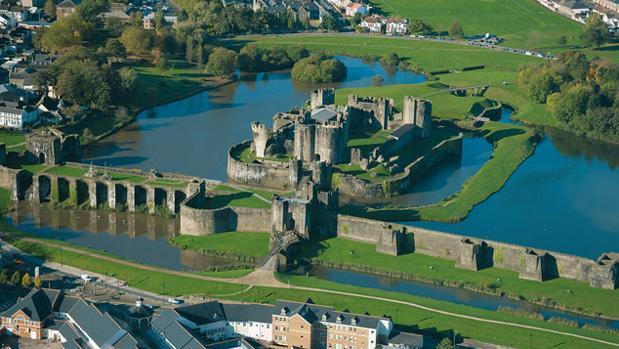 Vista aérea del Castillo de Caerphilly