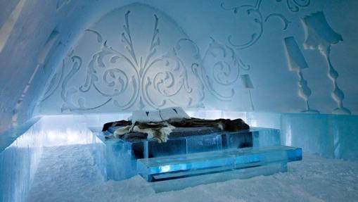 Habitación del hotel «Ice Hotel» en Suecia