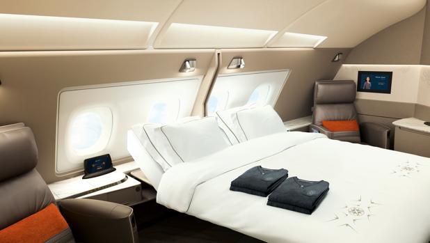 La nueva cama doble en las suites de Singapore Airlines