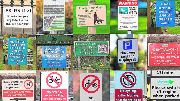Algunos de los paneles en los que se dictan las normas dispares tanto para locales como para visitantes