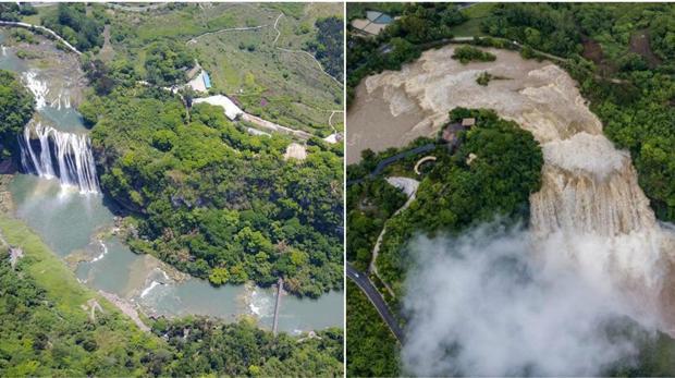 Cataratas de Huangguoshu, a la izquierda con el volumen de agua habitual. A la derecha, imagen del 4 de junio con el mayor volumen del año