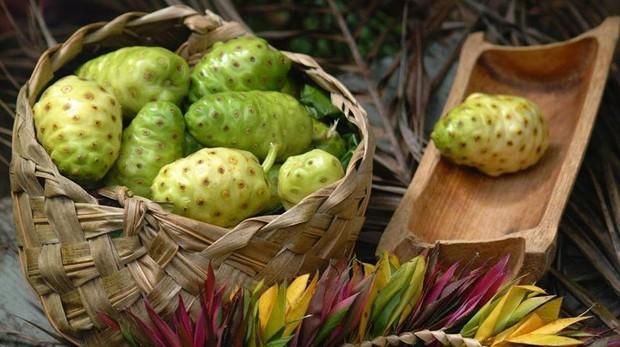 En la imagen, el fruto del noni