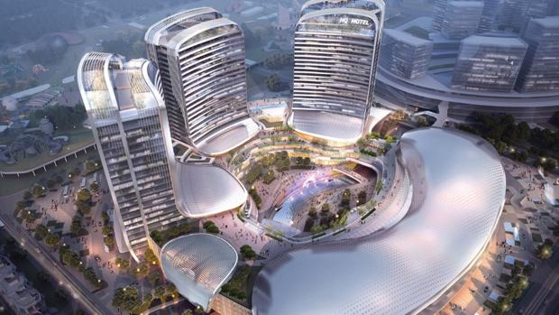 Vista aérea de Lionsgate Entertainment World en la isla de Hengqin en Zhuhai, China